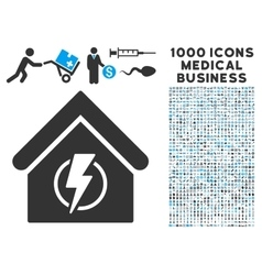 Power supply building icon with 1000 medical vector