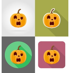 pumpkins for halloween flat icons 15 vector image