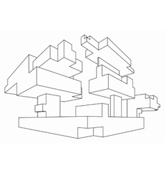 Rectangular shape in two point perspective vector