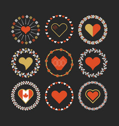Red and golden hearts circle emblem set on black vector