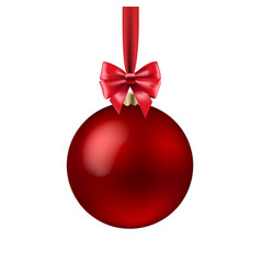 red xmas ball isolated vector image vector image