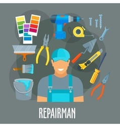 Repairman worker with work tools poster vector image