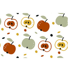 seamless pattern with apples isolated on vector image