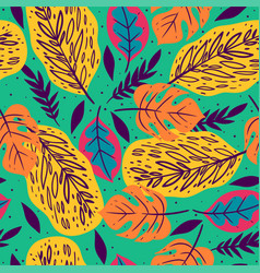 Seamless pattern with tropical leaves on green vector