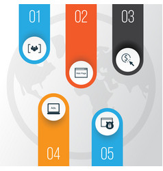 Seo icons set collection of ppc security vector