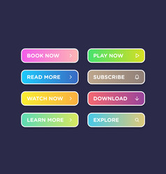Set of colorful clean style buttons modern vector