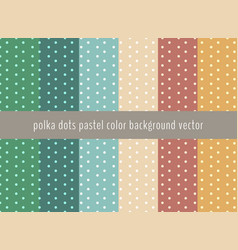 set of polka dots pattern on pastels green vector image