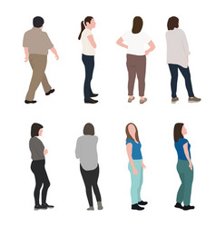 set of silhouette walking people and children vector image
