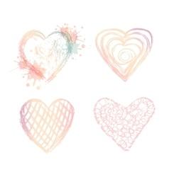 set ombre doodle hearts vector image