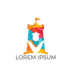 Student and fort combination logo design vector