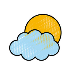 sun and cloud weather vector image