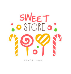 Sweet store since 1959 logo colorful hand drawn vector
