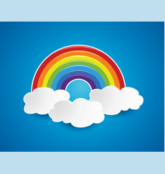 symbol rainbow and clouds in sky vector image