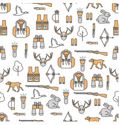 thin line art hunter seamless pattern vector image