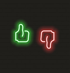 thumb up and down icon in neon style symbols vector image