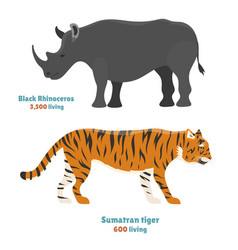 Tiger action wildlife animal danger rhinoceros vector