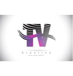 Tv t v zebra texture letter logo design with vector