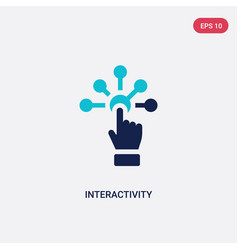 Two color interactivity icon from augmented vector