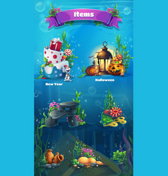 underwater item set vector image