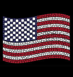 Waving united states flag stylization filled vector
