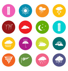 weather set icons many colors set vector image