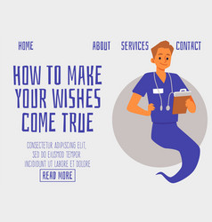 Website with genie as doctor or healthcare vector