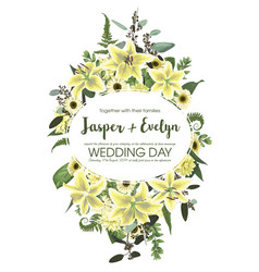 Wedding floral invite card watercolor green vector