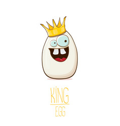 white egg king with crown cartoon characters vector image