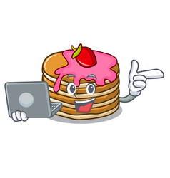 With laptop pancake with strawberry character vector