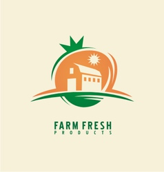 Farm fresh product label design layout vector image