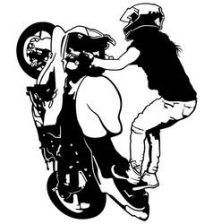 Female stunt rider vector