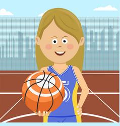 Girl with ball standing on city basketball court vector