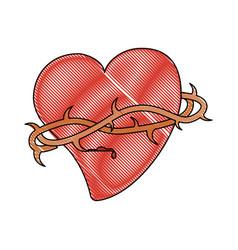 sacred heart catholic symbol vector image vector image