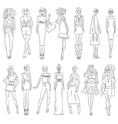 set of fashion models vector image