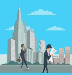 two gentlemen go on business downtown in new york vector image