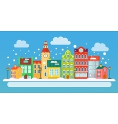 Winter urban landscape in flat style vector image vector image