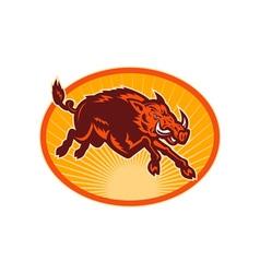 Charging attacking razorback wild boar or pig vector image vector image