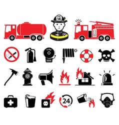 Fire department icons vector image vector image