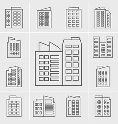 line building icons vector image