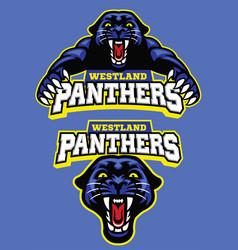 set of black panther mascot vector image