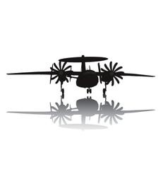 Awacs aircraft silhouette vector image
