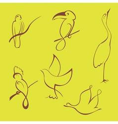 bird sketches vector image