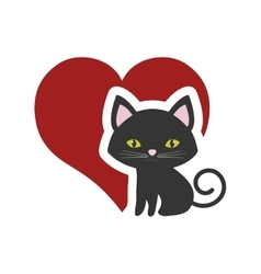 cat nose funny animal red heart vector image vector image