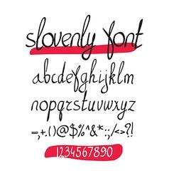 handwritten brush alphabet on white background vector image