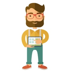 Man holding a screen tablet vector image