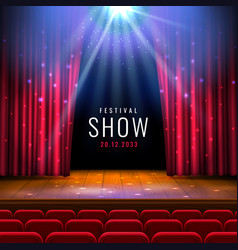 theater wooden stage with red curtain spotlight vector image
