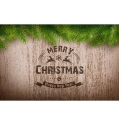 Christmas emblem on wooden texture vector image