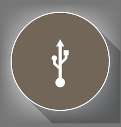 Usb sign white icon on brown vector