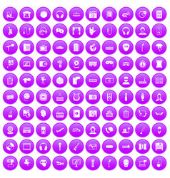 100 microphone icons set purple vector