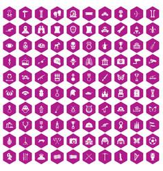 100 museum icons hexagon violet vector